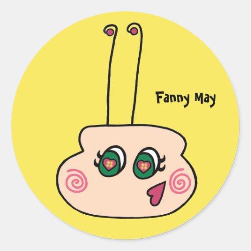 Fanny puede los pegatinas de la luciérnaga pegatina redonda