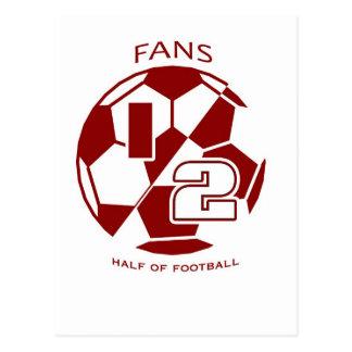 fans are half of soccer postcard