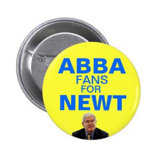 Fans de Abba para el botón de Newt Gingrich Pins