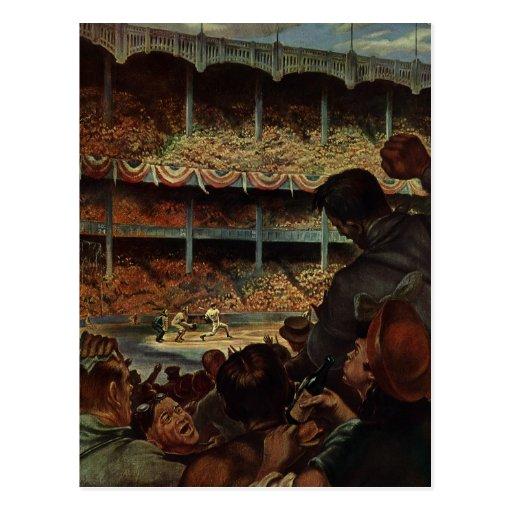 Fans de deportes del vintage; Estadio de béisbol Postales