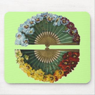 Fans florales del vintage tapetes de ratón