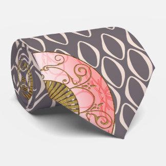 Fans orientales en el lazo retro (rosa, oro, de corbata