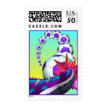 Fans & Players Game of Soccer Ball in Motion Stamp
