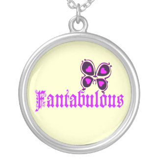 ♔Fantabulous Romantic-Butterfly Silver Necklace♔ Round Pendant Necklace
