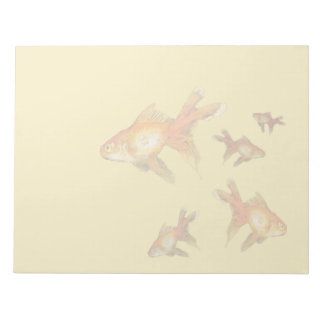 Fantail Goldfish swimming on this notepad