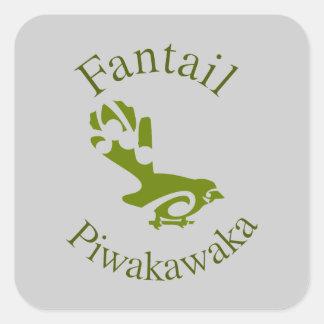 Fantail New Zealand Native Bird PIWAKAWAKA Square Sticker