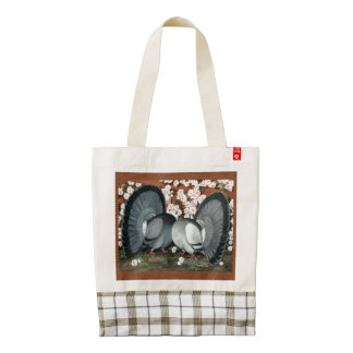 Fantail Pigeons Matched Pair Zazzle HEART Tote Bag