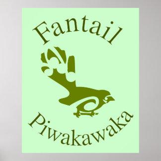 Fantail PIWAKAKA New Zealand native bird Poster