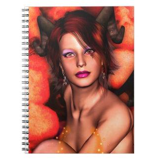 Fantasía 3D del chica del demonio Cuaderno