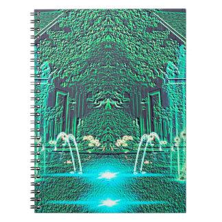 Fantasía abstracta moderna de la fuente de agua libros de apuntes