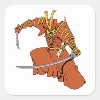 Fantasía AR del guerrero de los artes marciales de Pegatinas Cuadradases Personalizadas