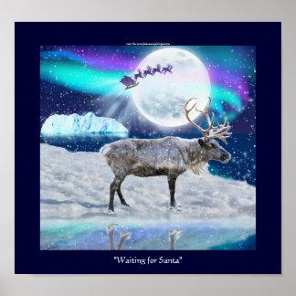 Fantasía ártica del navidad del reno y de Papá Noe Impresiones