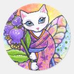 Fantasía asiática del gato del geisha de los pegatina redonda