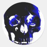 Fantasía azul del arte pop del cráneo pegatina