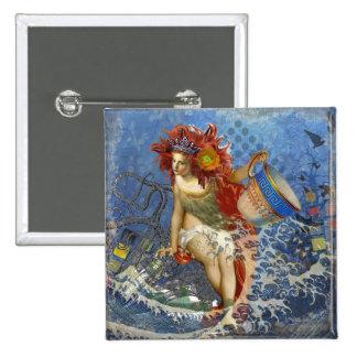 Fantasía azul del collage del acuario de la sirena pin cuadrado