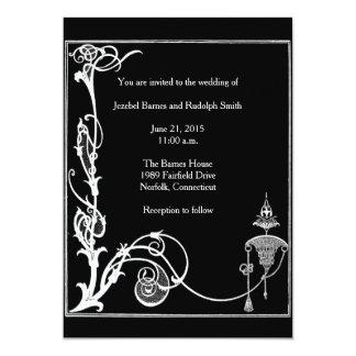 """Fantasía blanco y negro de Aubrey Beardsley Invitación 5"""" X 7"""""""