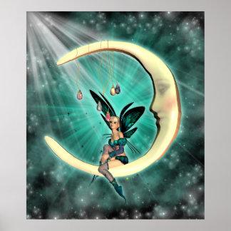 Fantasía de hadas de la luna de febrero vidente poster