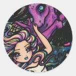 Fantasía de hadas del chica de la estrella cósmica etiqueta redonda