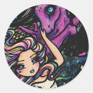 Fantasía de hadas del chica de la estrella cósmica pegatina redonda