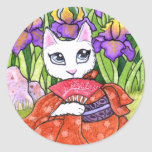 Fantasía de hadas del geisha del gato de los pegatina redonda