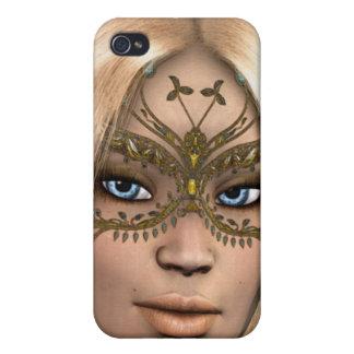 Fantasía de hadas enmascarada mariposa de oro iPhone 4/4S carcasa