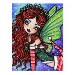 Fantasía de hadas Gir del navidad del copo de niev Postales