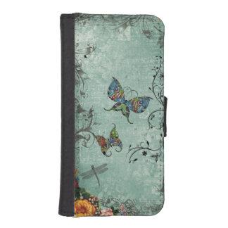 Fantasía de la mariposa funda cartera para teléfono