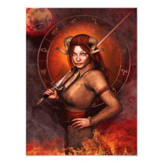 Fantasía de la muestra del zodiaco del aries cojinete