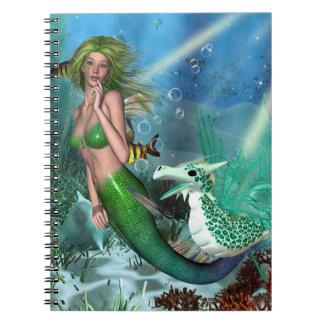 Fantasía de la sirena de los mejores amigos spiral notebook