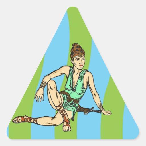 Fantasía de las mujeres del Amazonas Calcomanías Triangulos Personalizadas
