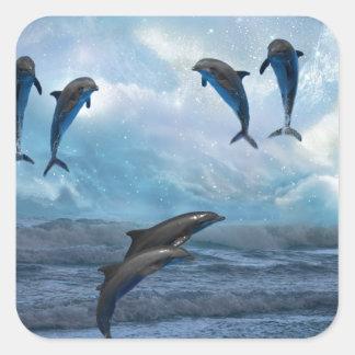 Fantasía de los delfínes pegatina cuadrada