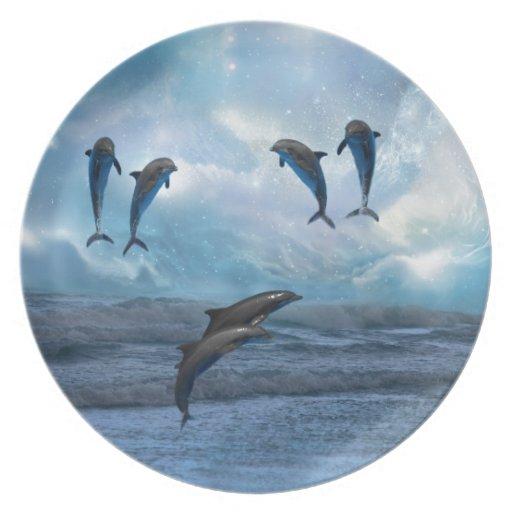 Fantasía de los delfínes plato para fiesta