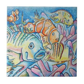 Fantasía de los pescados azulejo cuadrado pequeño