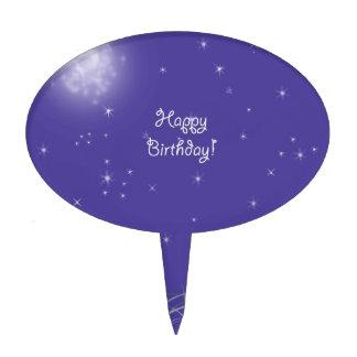 Fantasía de medianoche de la luna del feliz cumple figuras de tarta
