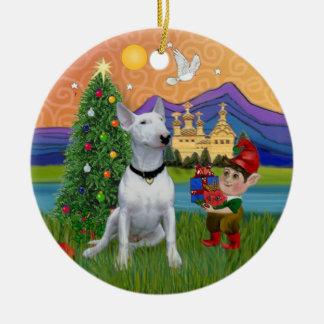 Fantasía de Navidad - bull terrier blanco (p) Ornaments Para Arbol De Navidad