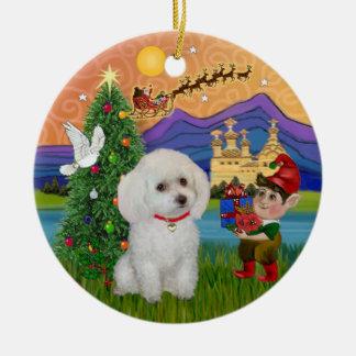 Fantasía de Navidad - caniche blanco del Min. o de Adorno Navideño Redondo De Cerámica