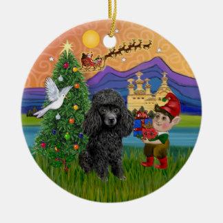 Fantasía de Navidad - caniche negro del Min. o de Adorno Navideño Redondo De Cerámica