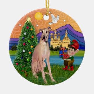 Fantasía de Navidad - galgo del cervatillo (el Adorno Redondo De Cerámica