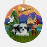 Fantasía de Navidad - Shih Tzu (negro-blanco) Ornamentos Para Reyes Magos