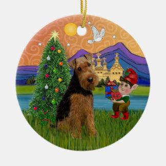 Fantasía de Navidad - Terrier galés Ornamento Para Arbol De Navidad