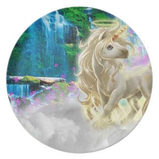 Fantasía de oro del unicornio de la placa de la platos de comidas