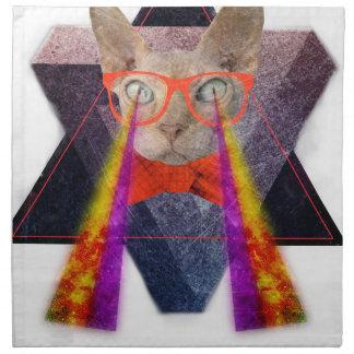 Fantasía de rayo láser del gato loco servilletas imprimidas
