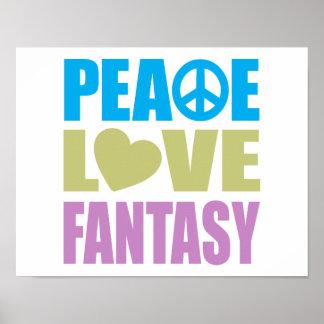 Fantasía del amor de la paz póster