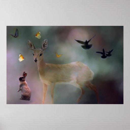 Fantasía del bosque de los bebés póster