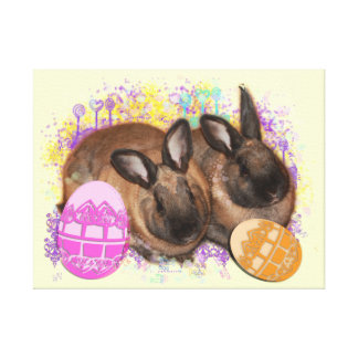 ¡Fantasía del conejito de pascua - Pascua feliz Lienzo Envuelto Para Galerias