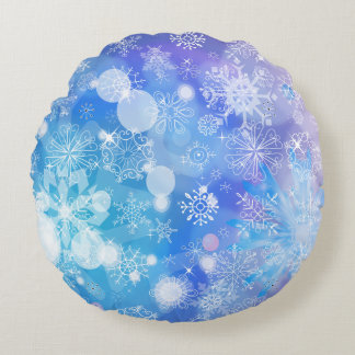 Fantasía del copo de nieve cojín redondo