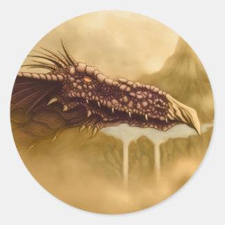 fantasía del dragón de vuelo pegatina redonda