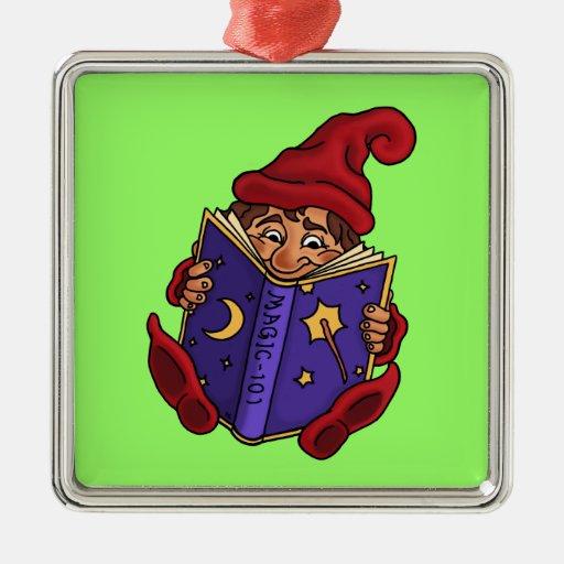 fantasía del gnomo de la lectura ornaments para arbol de navidad