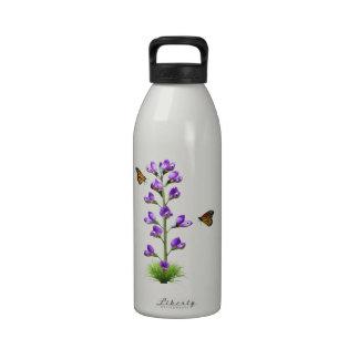 Fantasía del guisante de olor con las mariposas botella de agua reutilizable