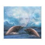 Fantasía del niño y del delfín del añil impresión de lienzo